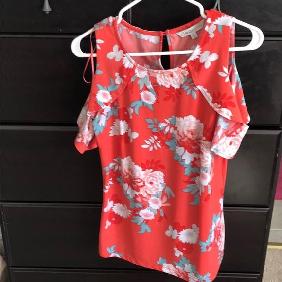 cleo Tops - 2/$15 Cleo Petite Floral cold shoulder top
